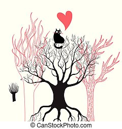Vector illustration of a black enamored cat