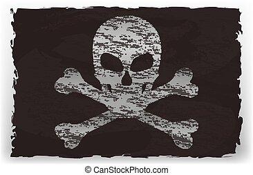 Vector illustration of a black pirate flag