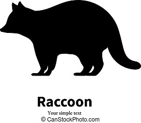Vector illustration of a black raccoon silhouette