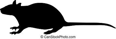 Vector illustration of a black silhouette rat