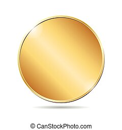 vector illustration of a blank golden coin on white background