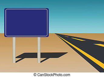 Vector Illustration of a blank road sign on blue sky background that you could add text to