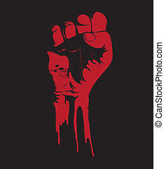 blooding clenched fist - Vector illustration of a blooding ...
