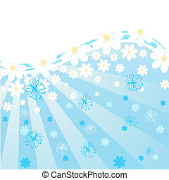 vector illustration of a blue background with daisies, butterflies, rays.