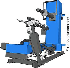 Vector illustration of a blue bore lathe white background