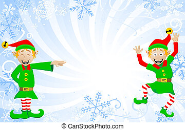 blue christmas background with elves - vector illustration ...