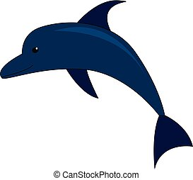 Vector illustration of a blue dolphin on white background