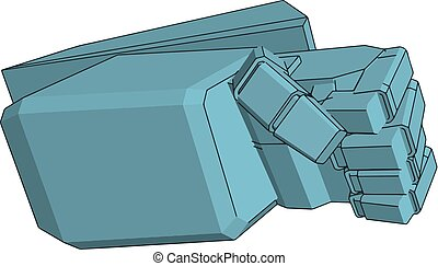 Vector illustration of a blue robot hand white background