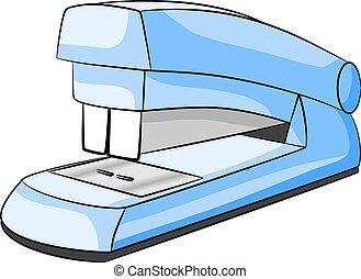 stapler - vector illustration of a blue stapler on white...