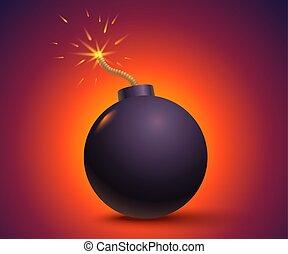 Black bomb on orange background.