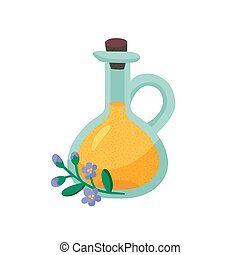 flax oil - vector illustration of a bottle of flax oil on ...