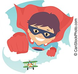 Boy Flying as Super Hero