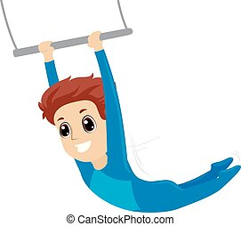 Vector Illustration of a Boy hanging on trapeze