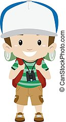 Boy in camping costume