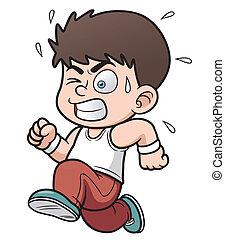 boy running - Vector illustration of a boy running