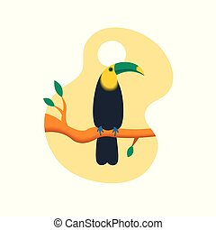 Vector illustration of a bright tropical bird Toucan on a floral background.