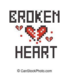 Vector illustration of a broken heart pixel