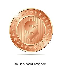 vector illustration of a bronze coin with dollar sign