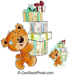 Vector illustration of a brown teddy bear carries a stack of gift boxes