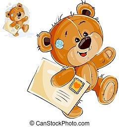 Vector illustration of a brown teddy bear carries in its paw a letter