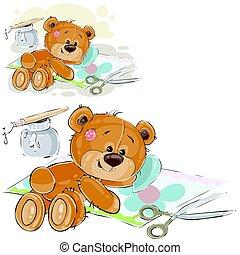 Vector illustration of a brown teddy bear glues a scrapbook applique, handmade
