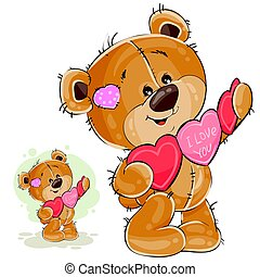 Vector illustration of a brown teddy bear holding a garland of red and pink hearts in its paws