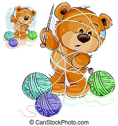 Vector illustration of a brown teddy bear holding a knitting needle in its paw and tangled in threads