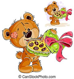 Vector illustration of a brown teddy bear holding an open box of chocolates in its paws and treating them. Print, template, design element
