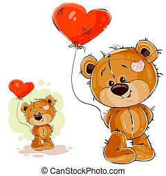 Vector illustration of a brown teddy bear holding in its paw a red balloon in the shape of a heart