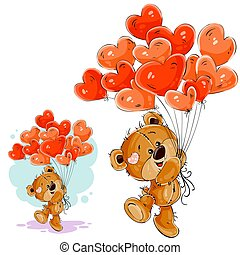 Vector illustration of a brown teddy bear holding in its paw a red balloons in the shape of a heart