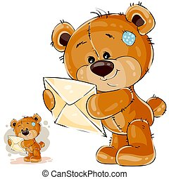 Vector illustration of a brown teddy bear holding in its paws received letter