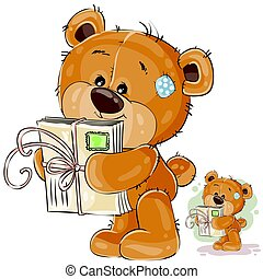 Vector illustration of a brown teddy bear holding in its paws received letters