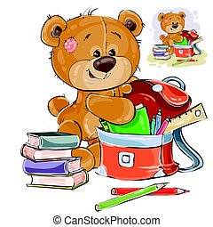 Vector illustration of a brown teddy bear holds books and...
