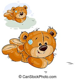 Vector illustration of a brown teddy bear lies on the floor on his stomach