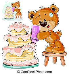 Vector illustration of a brown teddy bear makes a holiday cake