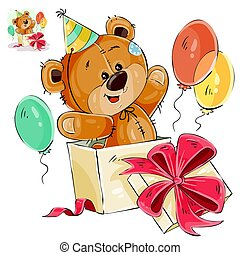Vector illustration of a brown teddy bear peeking out of a gift box