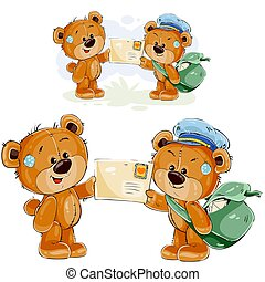 Vector illustration of a brown teddy bear postman giving a ...