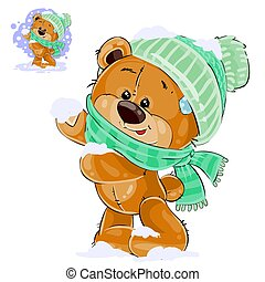 Vector illustration of a brown teddy bear rejoicing in the fallen snow
