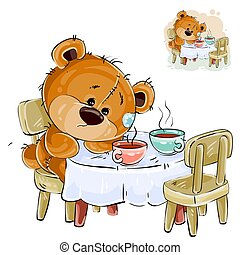 Vector illustration of a brown teddy bear sitting at a table with two cups and missing someone