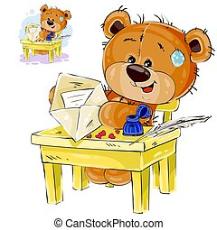Vector illustration of a brown teddy bear sitting at the...