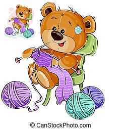 Vector illustration of a brown teddy bear sitting on a chair...