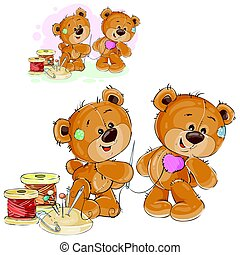 Vector illustration of a brown teddy bear tailor holding in his paw needle and thread and sewing something, needlework