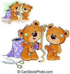 Vector illustration of a brown teddy bear tailor measuring another teddy bear measuring tape, needlework