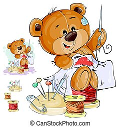 Vector illustration of a brown teddy bear tailor sews a red patch in the shape of a heart