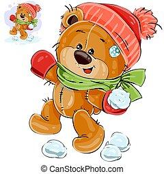 Vector illustration of a brown teddy bear throws a snowball