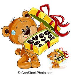 Vector illustration of a brown teddy bear treats with chocolate candies