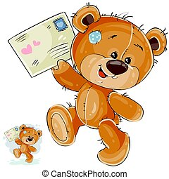 Vector illustration of a brown teddy bear holding in its...