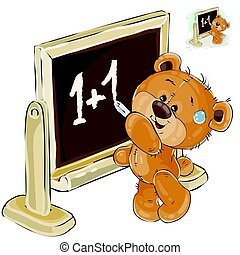 Vector illustration of a brown teddy bear is standing by the...