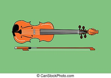vector illustration of a brown violin and bow on green background. eps 10