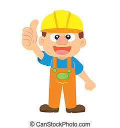 Vector illustration of a builder - a builder in yellow...